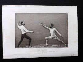 Badminton Library 1893 Sword Fencing. The Salute. Position after disengagement